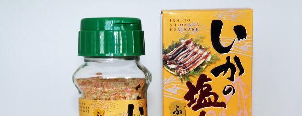 イカ塩辛ふりかけのパッケージと瓶
