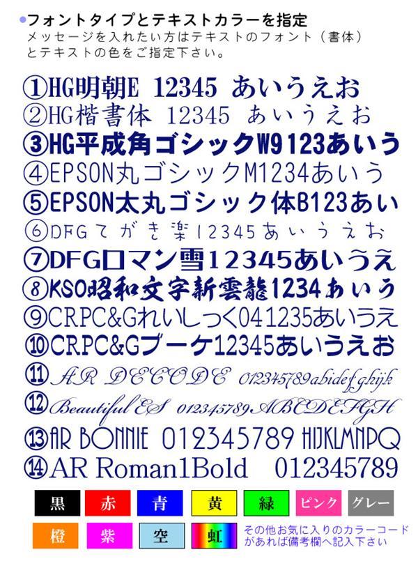 印刷する文字の書体と色